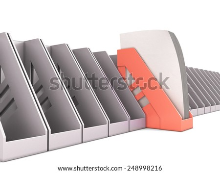 Red paper tray stands out among the gray paper trays. 3d render image. - stock photo