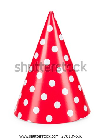 red party hat isolated on a white background. - stock photo