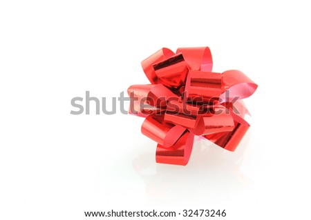 red party ribbon on white background