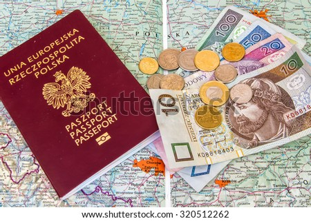 Red passports and money (polish zloty and dollars) over map background