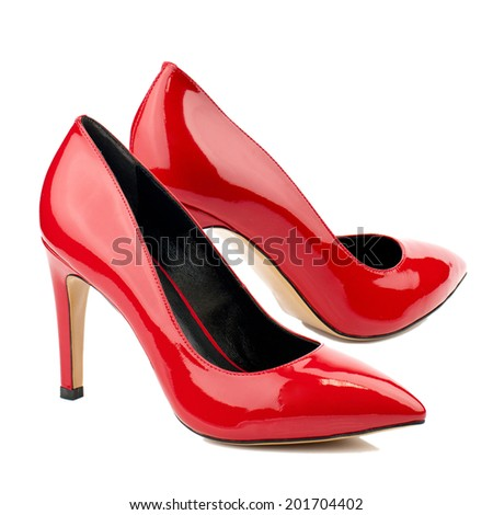 Red patent high heel women shoe isolated on white background. - stock photo