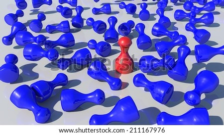 red pawn stands out - stock photo