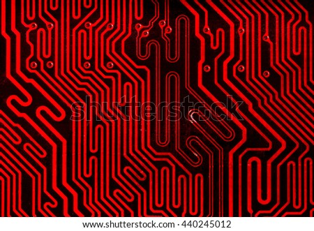 red pcb board integrated circuit motherboard computer parts abstract background