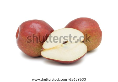 Red pears, isolated on a white background - stock photo