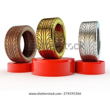 red pedestal with gold, silver and bronze tires