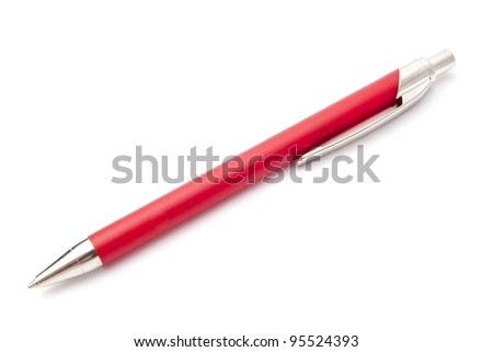 Red pen isolated on white background - stock photo