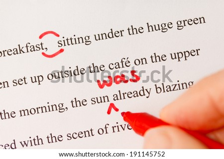 Red Pen used to Proofread Text in Story Closeup  - stock photo
