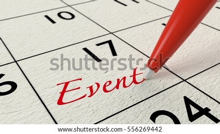 Red pen writing the word event into a calendar time management concept 3D illustration