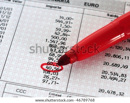 Red pencil and a Invoice - stock photo