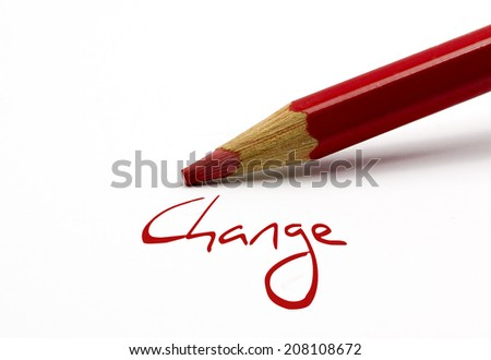Red pencil - Change - stock photo