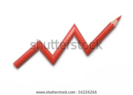 red pencil line graph - stock photo
