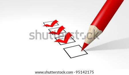 Red pencil makes a check in a check-box - stock photo