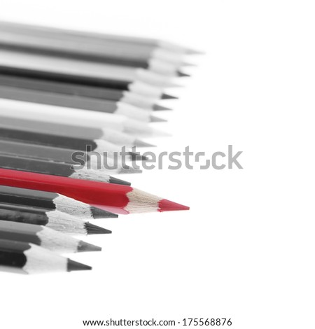 Red pencil standing out from others