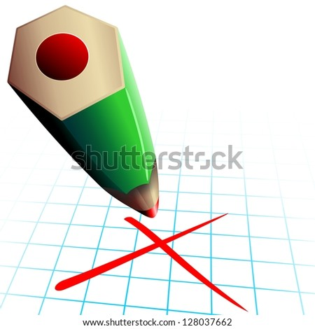 Red Pencil Test Election Day Vote - stock photo