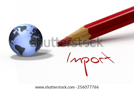 Red pencil with globe - Import - stock photo