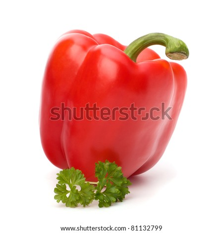 red pepper isolated on white background - stock photo