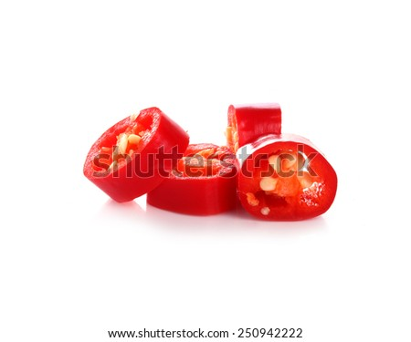 red pepper slices on white background - stock photo