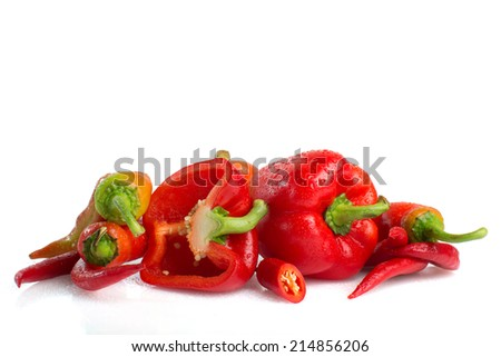Red peppers isolated on white background. Concept of healthy food. - stock photo