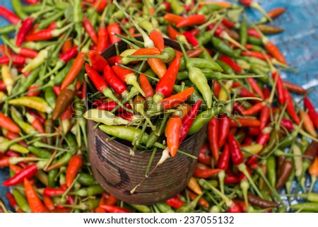 Red peppers on the market - stock photo