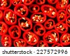 Red peppers with seeds background - stock photo
