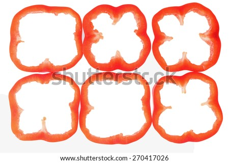 red peppers with slice on white background - stock photo