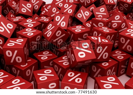 Red percent cubes falling down - stock photo