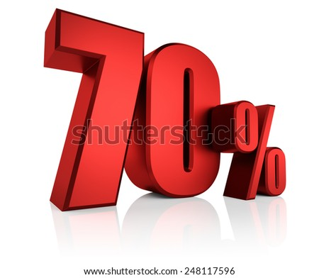 Red 70 percent on white background. 3d render discount - stock photo