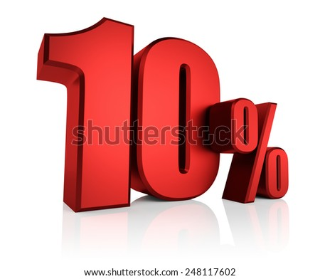 Red 10 percent on white background. 3d render discount - stock photo