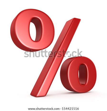 Red Percent Sign Isolated on the White Background  - stock photo