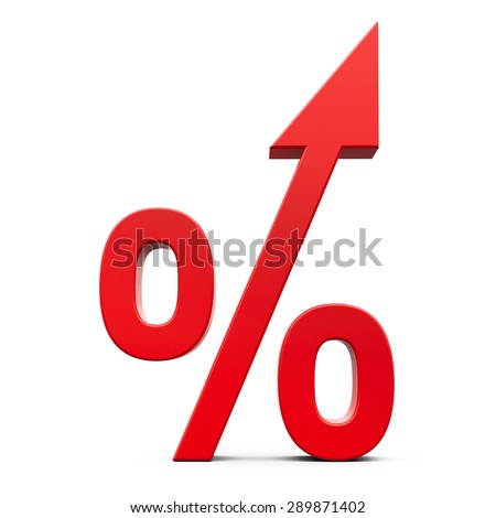 Red percent with arrow sign isolated on the white background, three-dimensional rendering - stock photo