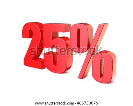 Red percentage sign . 3D render illustration isolated on white background