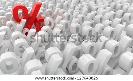 Red percentage symbol over the  white percentage symbols - stock photo