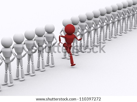 Red person runs coming out of row.