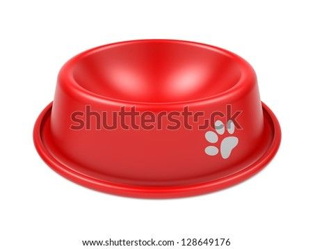 Red Pet Bowl Isolated on White Background. - stock photo