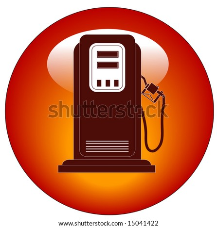 red petrol or gas pump web button or icon - stock photo