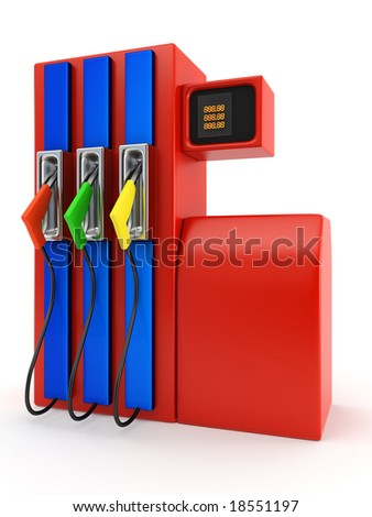 red petrol pump on white background - stock photo