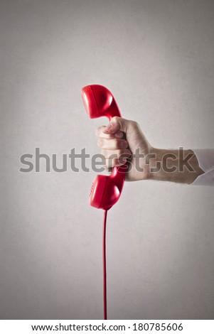red phone - stock photo