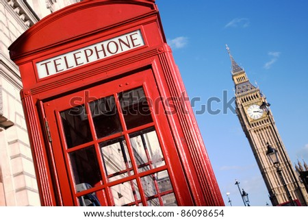 Red phone booth is one of the most famous icons of London. - stock photo