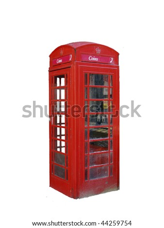 Red Phone Box isolated on white background - stock photo