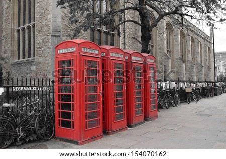 Red Phone Boxes in Cambridge, England