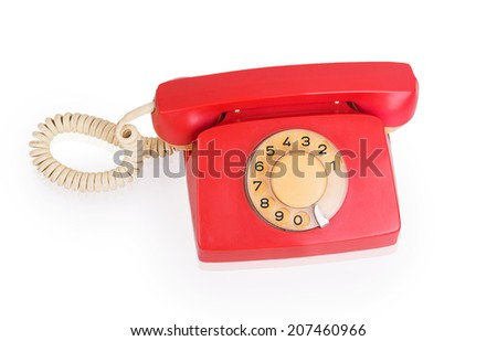 Red phone isolated on white background - stock photo