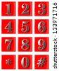 Red phone keyboard - stock photo