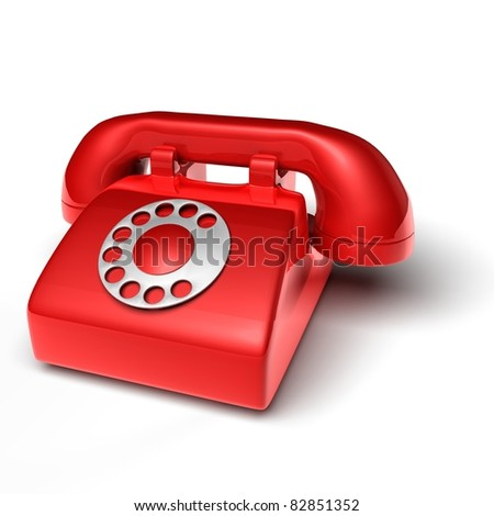 red phone on white background - 3D render bitmap - stock photo
