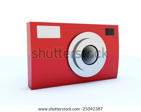 Red photo icon isolated on white