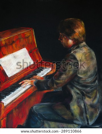 Red piano. Pianist is playing piano in the dark hall. Pastel chalks on paper.   - stock photo