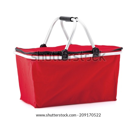 Red Picnic basket with handles isolated on white Background