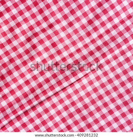 Red Picnic Tablecloth Background. Red And White Checkered Fabric Texture.