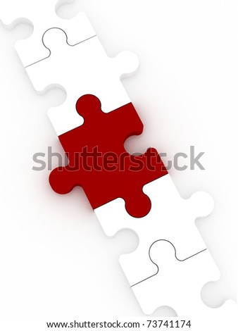 red piece in a white puzzle