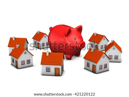 Red piggy bank with house buildings on the white.3d illustration.