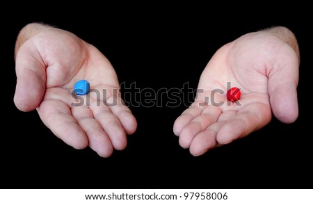 Red Pill Blue Pill concept - stock photo